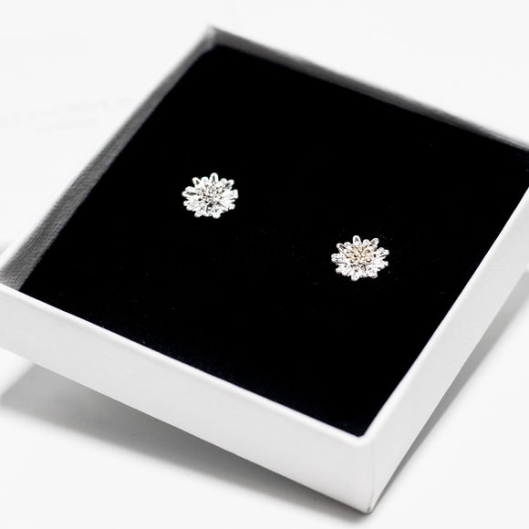 Silver Flat Daisy Stud Earrings - Sterling Silver
