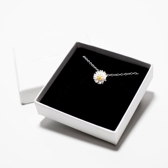 Petite Daisy Charm Necklace - Sterling Silver