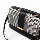 Houndstooth Print Bag - Black & White