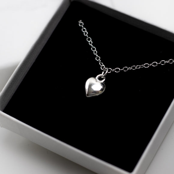 Heart Charm Necklace on Rolo Chain - Sterling Silver