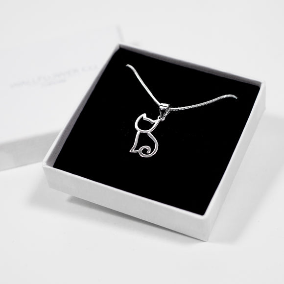 Cat Charm Necklace - Silver