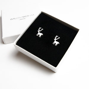 Christmas Reindeer Stud Earrings - Sterling silver
