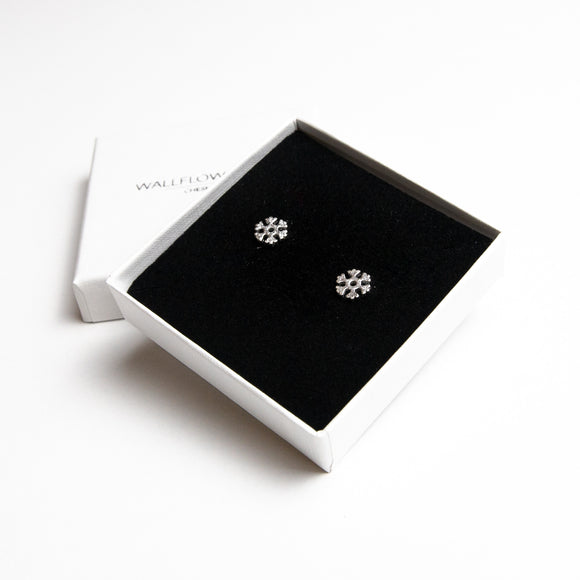 Christmas Snowflake Stud Earrings - Sterling silver