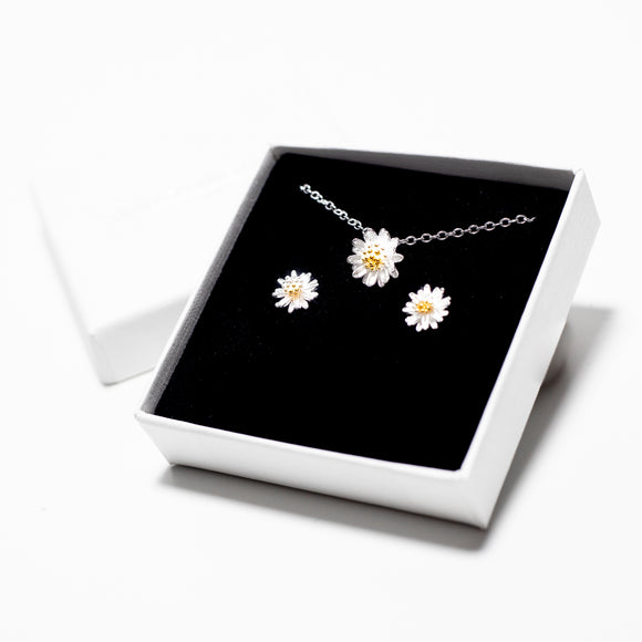 Petite Daisy Necklace & Earrings Set - Sterling Silver