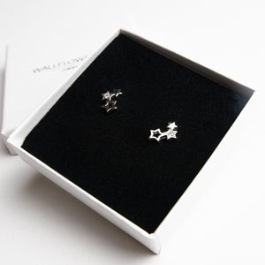 Christmas Star Stud Earrings - Sterling silver