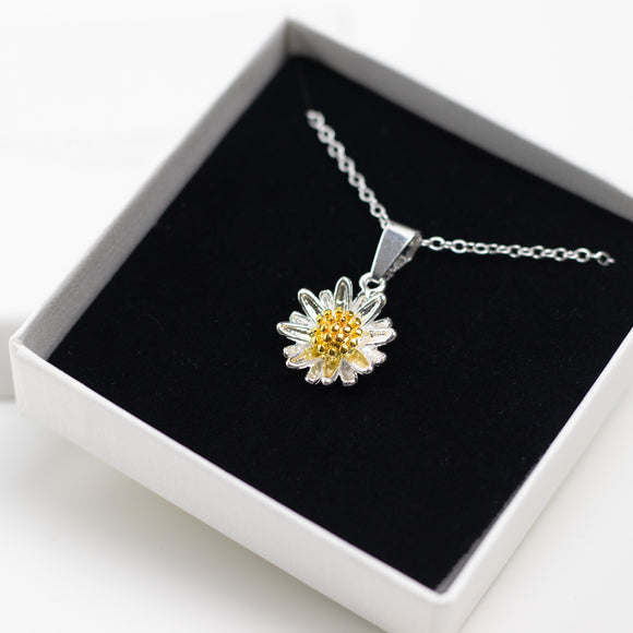 Daisy Charm Necklace - Sterling Silver