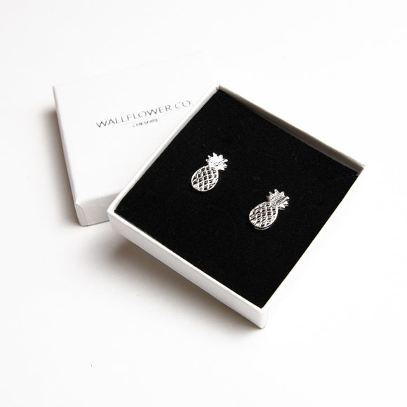 Pineapple Stud Earrings - Sterling Silver