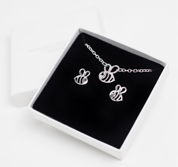 Bee Necklace & Earrings Set - Silver