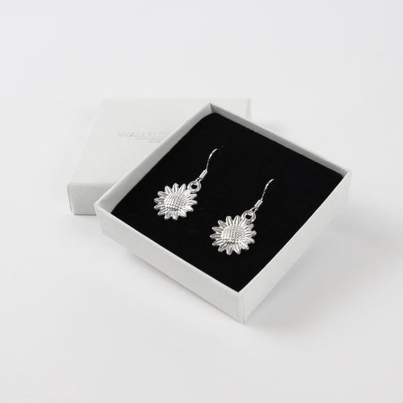 Sunflower Drop Earrings - Silver