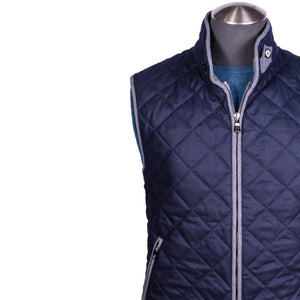 Waterville Water Repellent Quilted Vest Wool Navy