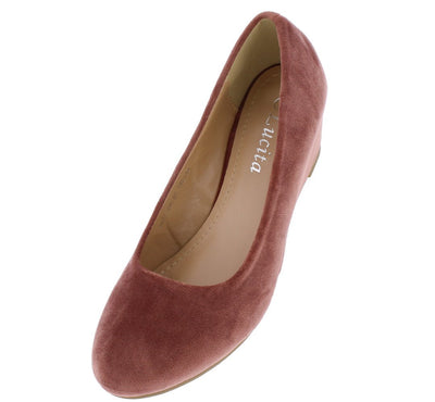 102100 Dusty Pink Su Round Toe Slide on Wedge - Wholesale Fashion Shoes