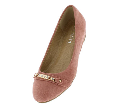 102l004 Pink Gold Accent Slide on Wedge Flat - Wholesale Fashion Shoes