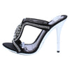 Emma087 Black Embellished Open Toe Mule Stiletto Heel - Wholesale Fashion Shoes