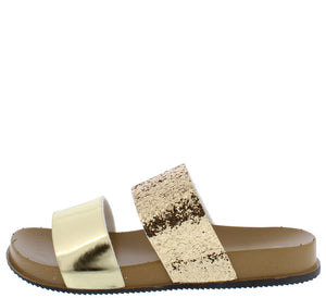 2028ed007 1101 Gold Two Tone Metallic Slide on Sandal Flat - Wholesale Fashion Shoes