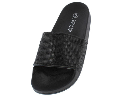 11801 Black Rhinestone Slide on Sandal - Wholesale Fashion Shoes