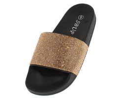 11801 CHAMPAGNE RHINESTONE SLIDE ON SANDAL - Wholesale Fashion Shoes