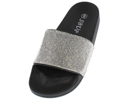 11801 SILVER RHINESTONE SLIDE ON SANDAL - Wholesale Fashion Shoes