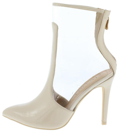 Charlie026 Nude Covered Pointed Toe Lucite Stiletto Boot - Wholesale Fashion Shoes