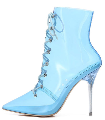 Kaylee252 Blue Lucite Lace Up Stiletto Boot - Wholesale Fashion Shoes