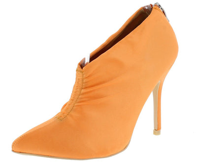 Camilla095 Orange Gathered Front Satin Ankle Boot - Wholesale Fashion Shoes