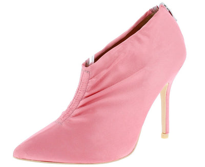 Camilla095 Peachblow Gathered Front Satin Ankle Boot - Wholesale Fashion Shoes
