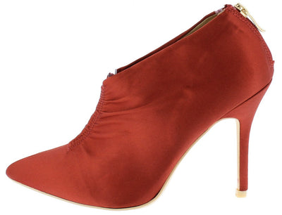 Camilla095 Maroon Gathered Front Satin Ankle Boot - Wholesale Fashion Shoes