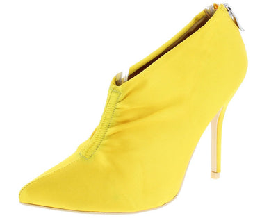 Camilla095 Yellow Gathered Front Satin Ankle Boot - Wholesale Fashion Shoes