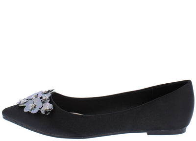 Arianna253 Black Embellished Pointed Toe Slip on Flat - Wholesale Fashion Shoes
