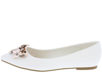 Arianna253 White Embellished Pointed Toe Slip on Flat - Wholesale Fashion Shoes