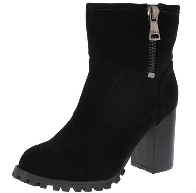 160164 Black Side Zip Block Heel Lug Sole Boot - Wholesale Fashion Shoes