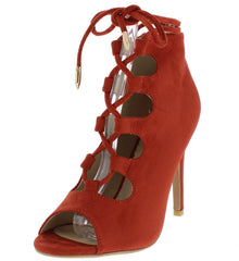 160778 RED SUEDE LACE UP PEEP TOE STILETTO HEEL - Wholesale Fashion Shoes