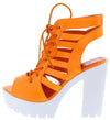 Norma032 Orange Caged Lace Up Lug Sole Boot - Wholesale Fashion Shoes
