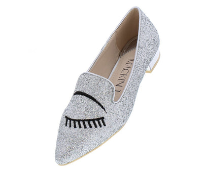 Kaylee144 Silver Glitter Pointed Toe Flirty Wink Loafer Flat - Wholesale Fashion Shoes