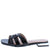 Pamela107 Black Woven Square Open Toe Flat Slide Sandal