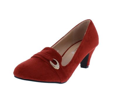 Sophie244 Burgundy Suede Rhinestone Strap Loafer Kitten Heel - Wholesale Fashion Shoes