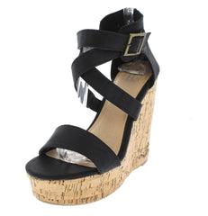 17603 BLACK WEDGE - Wholesale Fashion Shoes