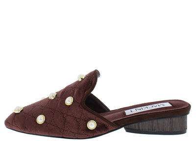 Scarlett284 Brown Quilted Pearl Stud Mule Loafer Flat - Wholesale Fashion Shoes