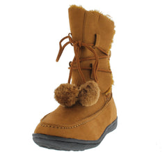 18128 COGNAC FUR POM POM SNOW BOOT - Wholesale Fashion Shoes