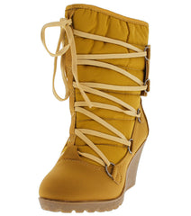 18166 WHEAT QUILTED LACE UP WEDGE SNOW BOOT - Wholesale Fashion Shoes