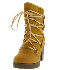 18167 WHEAT QUILTED CHUNKY HEEL SNOW BOOT - Wholesale Fashion Shoes