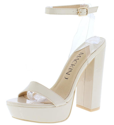 William064 Beige Lucite Slingback Strap Open Toe Platform Heel - Wholesale Fashion Shoes