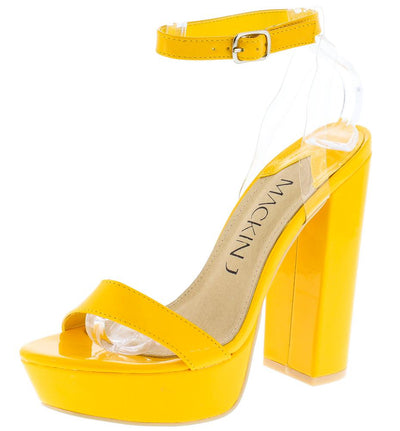 William064 Yellow Lucite Slingback Strap Open Toe Platform Heel - Wholesale Fashion Shoes