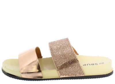 Zoey219 Champagne Mirror Sparkle Dual Strap Mule Sandal - Wholesale Fashion Shoes