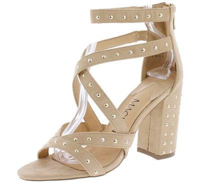 Isabella081 Beige Stud Embellished Cross Strap Chunky Heel - Wholesale Fashion Shoes