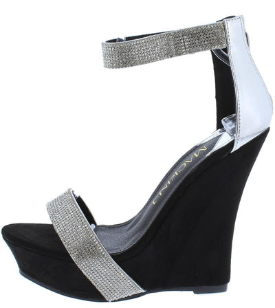 Savannah070 Silver Rhinestone Open Toe Ankle Strap Platform Wedge - Wholesale Fashion Shoes