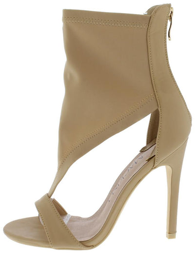 Alexandra205 Beige Open Toe Side Cut Out Heel - Wholesale Fashion Shoes
