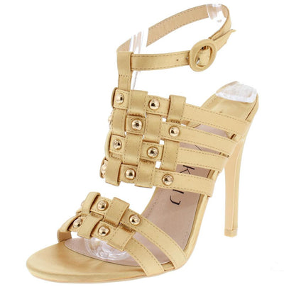 Aria222 Gold Woven Strappy Stud Detailed Open Toe Heel - Wholesale Fashion Shoes