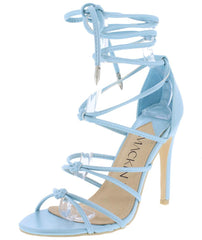 Riley155 Ice Blue Knotted Strappy Ankle Tie Heel - Wholesale Fashion Shoes