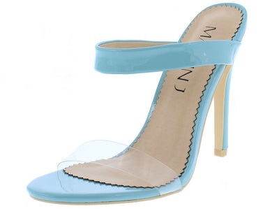 Callie060 Lake Green Open Toe Double Strap Stiletto Mule Heel - Wholesale Fashion Shoes