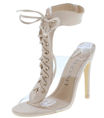 Bailyn053 Nude Open Toe Lucite Lace Up Stiletto Heel - Wholesale Fashion Shoes